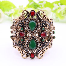 Bracelet Vintage en résine pour femmes, manchette large, turc, Antique, doré, bijoux de mariage, indien