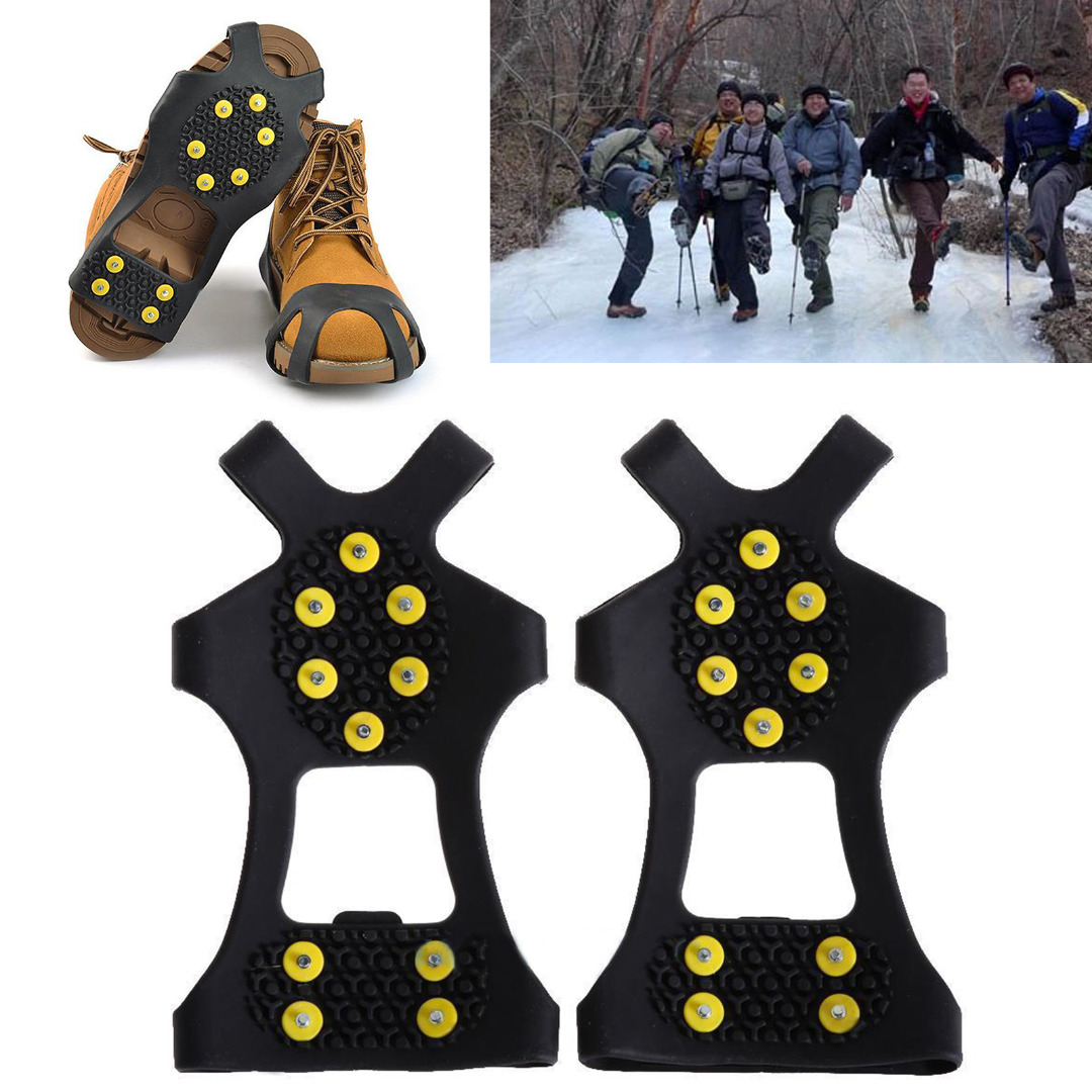 Estone - Cubierta Antideslizante Para Zapatos de Escalada de Hielo de Nieve, 10 Tacos, Color Black+Yellow, Tamaño XL