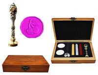 Vintage Cherry Custom Luxury Wax Seal Sealing Stamp Brass Peacock Metal Handle Sticks Melting Spoon Wood