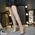 Rendas até botas Mulheres bombas joelho botas altas zip Peep Toe sobre as botas do joelho coxa botas altas de salto alto das mulheres nuas salto X161