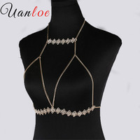 UANLOE Gold Beach Crop Top 2017 Chic Handmade Shiny Rhinestones Body Chain Bra Sexy Party Bralette
