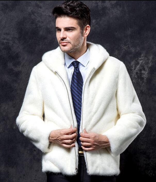 Winter thicken thermal mink hair leather jackets men casual mens short design coats hood ...