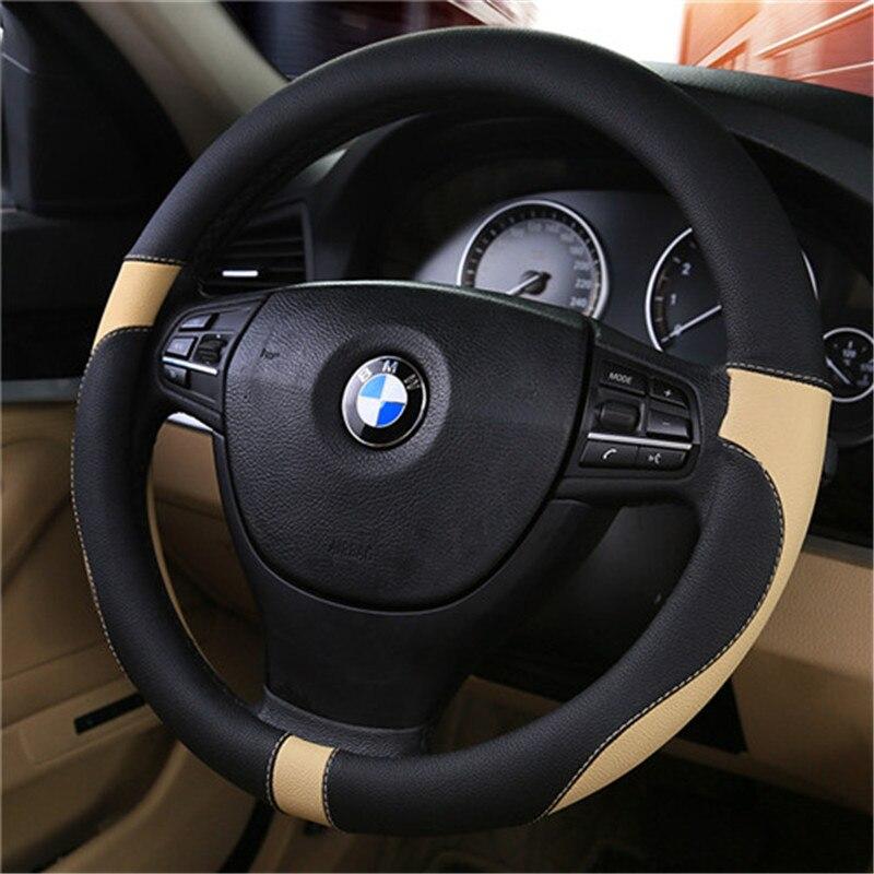 3D marca del coche rueda 38 cm de cuero cosido a mano la cubierta del volante del coche del cuero de la PU de la mayoría de los coches de estilo