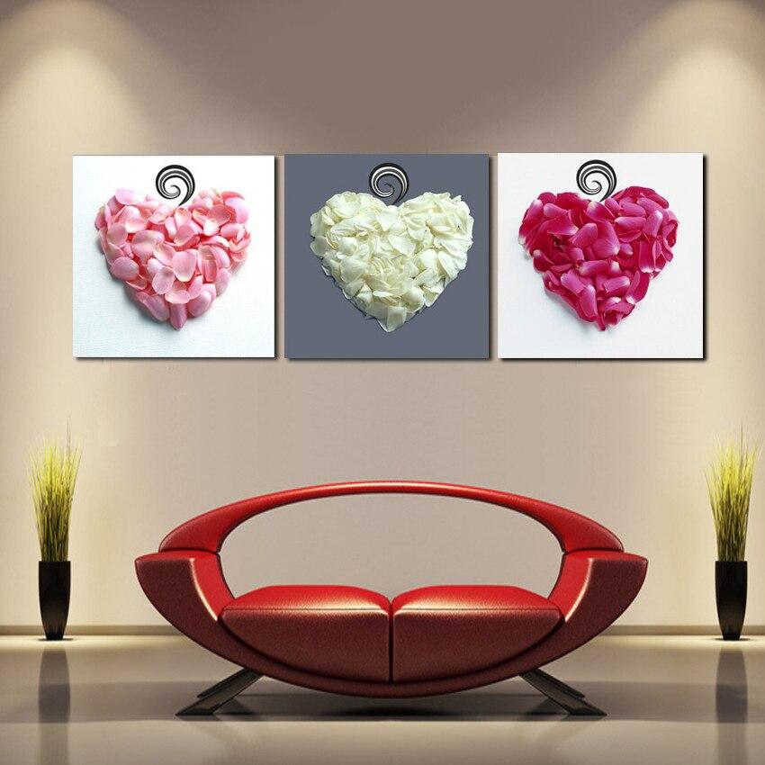 Nový příchod modulární panel 3 nástěnné dekorativní obrázky Láska srdce okvětní lístky umění plátno ložnice hlava hlavy olejomalba