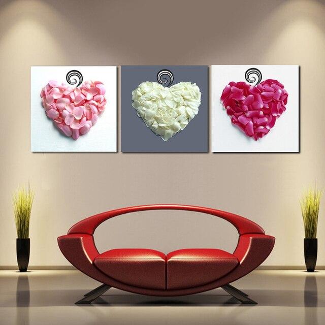 Nueva llegada modular 3 panel Wall imágenes decorativas amor corazón ...