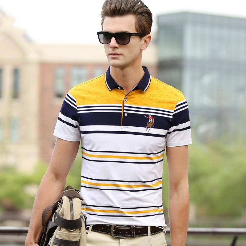 BOLUBAO Chest Embroidery Men's   Polo   Shirt 2019 Summer Stripe Men   Polo   Shirts Business Casual Men's   Polo   Shirt