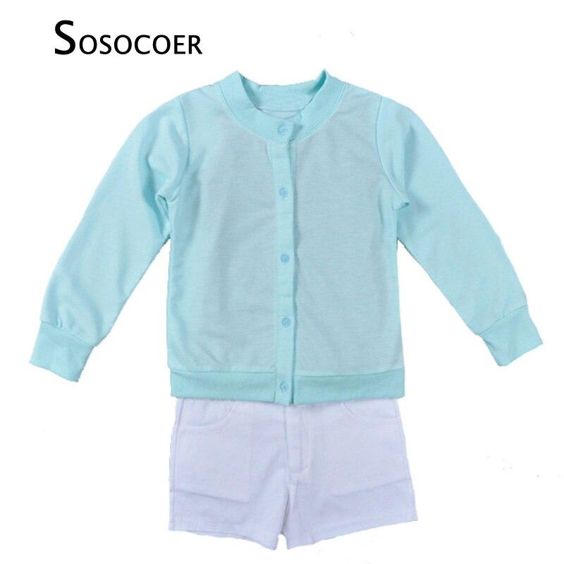 SOSOCOER Summer Baby Girl Clothing Sets Blue Coat+Black Suspender T Shirt+White Shorts 3pcs Kids Clothing Set For Girls Clothes