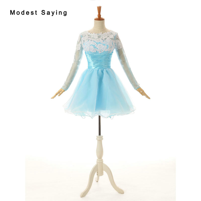 Elegant Light Blue and Ivory Beaded Lace Mini   Cocktail     Dresses   with Long Sleeves for Girls Short Party Prom Gowns with Open Back