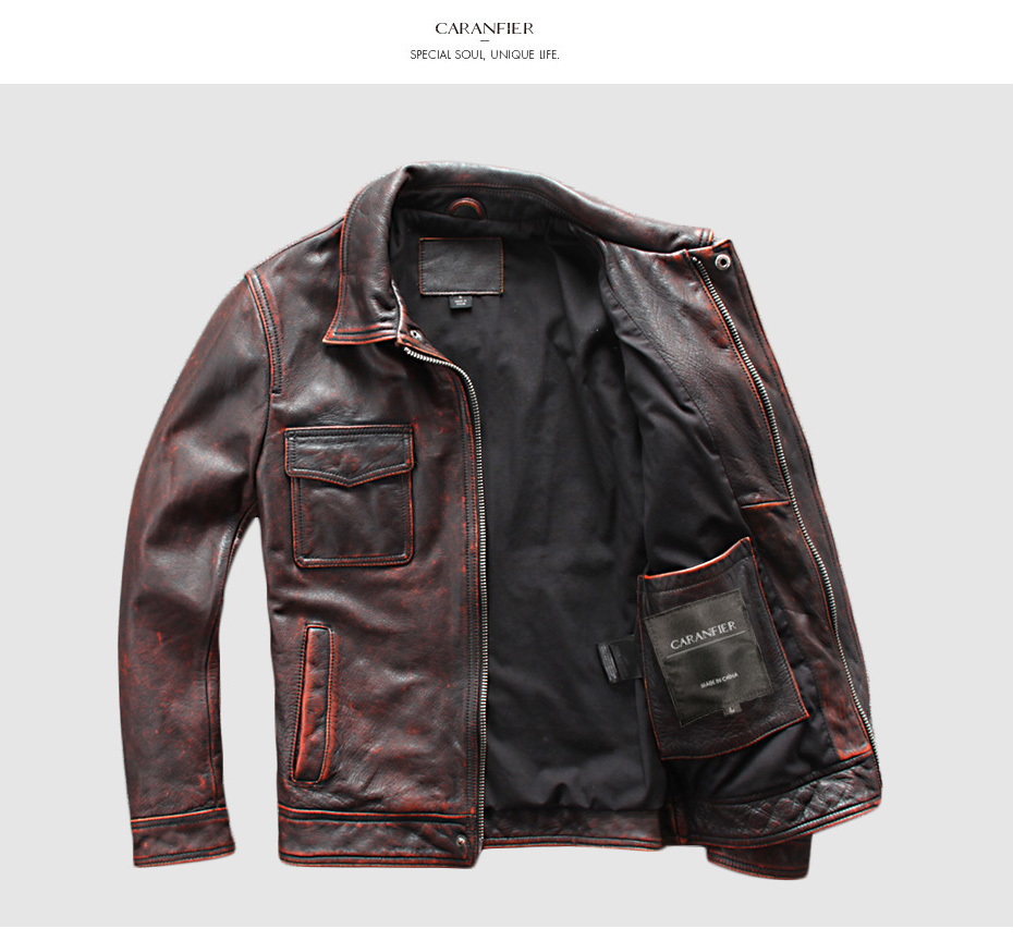HTB1GSB8Xbj1gK0jSZFOq6A7GpXab CARANFIER DHL Free Shipping Mens 100% Cowhide Genuine Leather Jacket High quality old retro motorcycle leather jacket 3XL