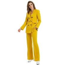Pink Yellow Color Suit Blazer Jacket Women Fashion Long Sleeve Coat Women Elegant Double Breasted Jacket Suits Female Ladies