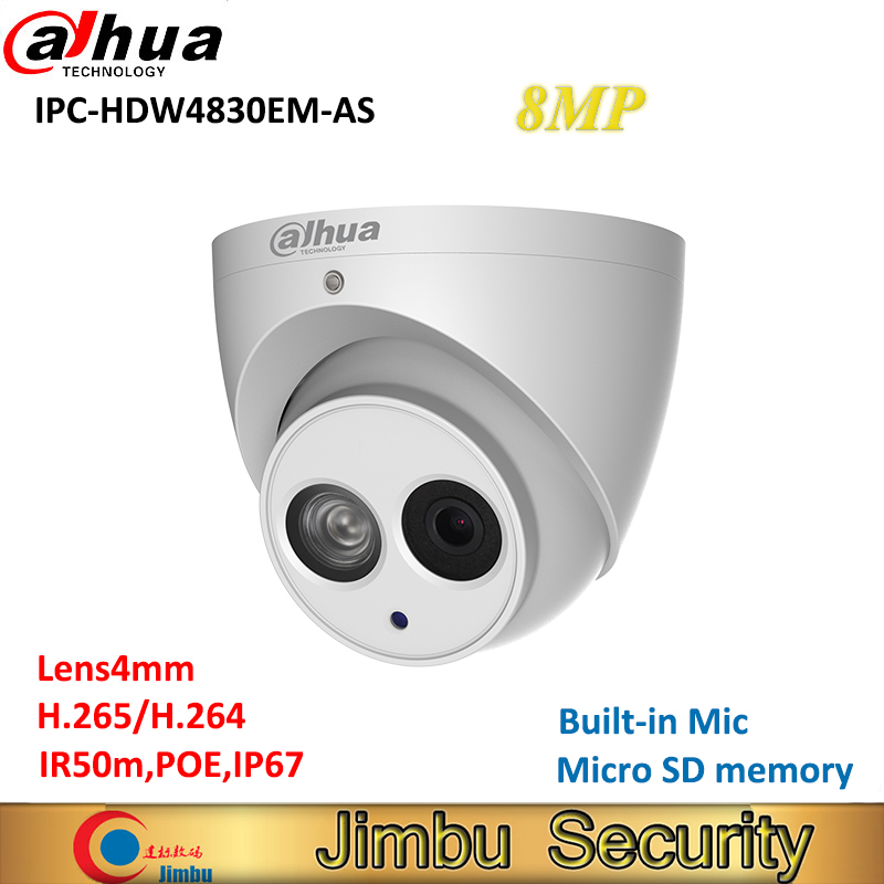 Dahua 8MP 4K IP camera IPC-HDW4830EM-AS H.265 IR Eyeball POE Built-in Mic camera IP67 Metal body fixed lens4mm security camera free shipping dahua cctv camera 4k 8mp wdr ir mini bullet network camera ip67 with poe without logo ipc hfw4831e se