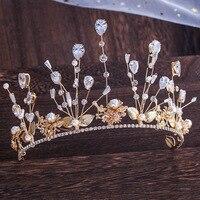 Fashion Design CZ Crystal Bridal Hairband Crown Gold Leaf Zircon Wedding Tiara Hair Accessories Prom Pageant Crowns Headpieces