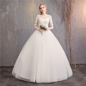 Image 2 - Suknia ślubna 2020 nowe tanie pani wygrać pół krótki kimonowy rękaw księżniczka Illusion suknie ślubne może wykonane na zamówienie Vestido De Noiva F