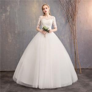 Image 2 - Vestido De novia barato Mrs Win, novedad De 2020, medio gorro De manga, ilusión De princesa, vestidos De boda, Vestido De novia personalizado F