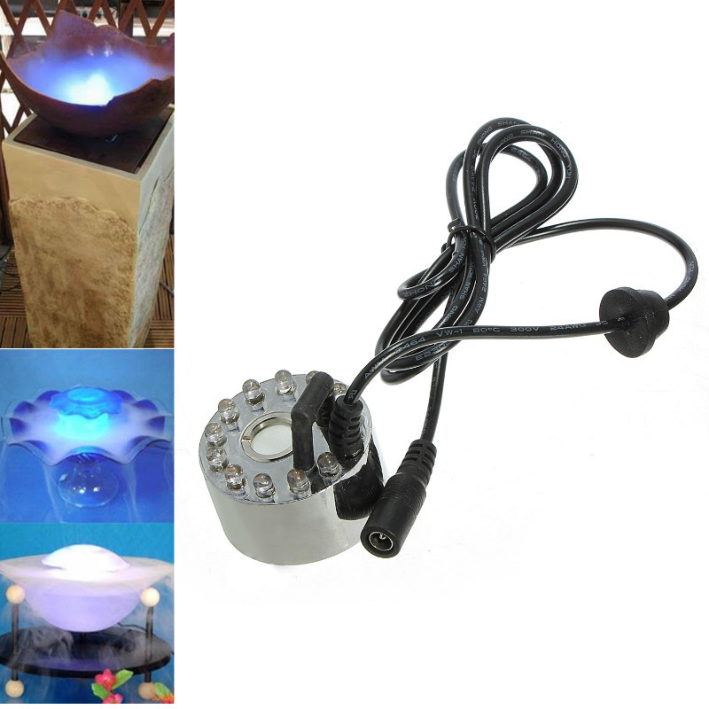 12 LED Mist Maker Fogger Water Fountain Pond Fog Machine Atomizer Air Humidifier With AC/DC Adapter Aquarium Landscaping