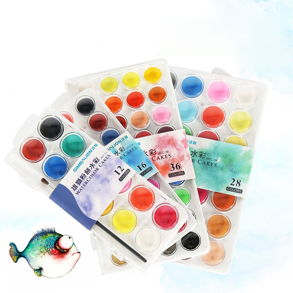 new colorful portable plastic box solid watercolor paints set for artist school student drawing painting stationery
