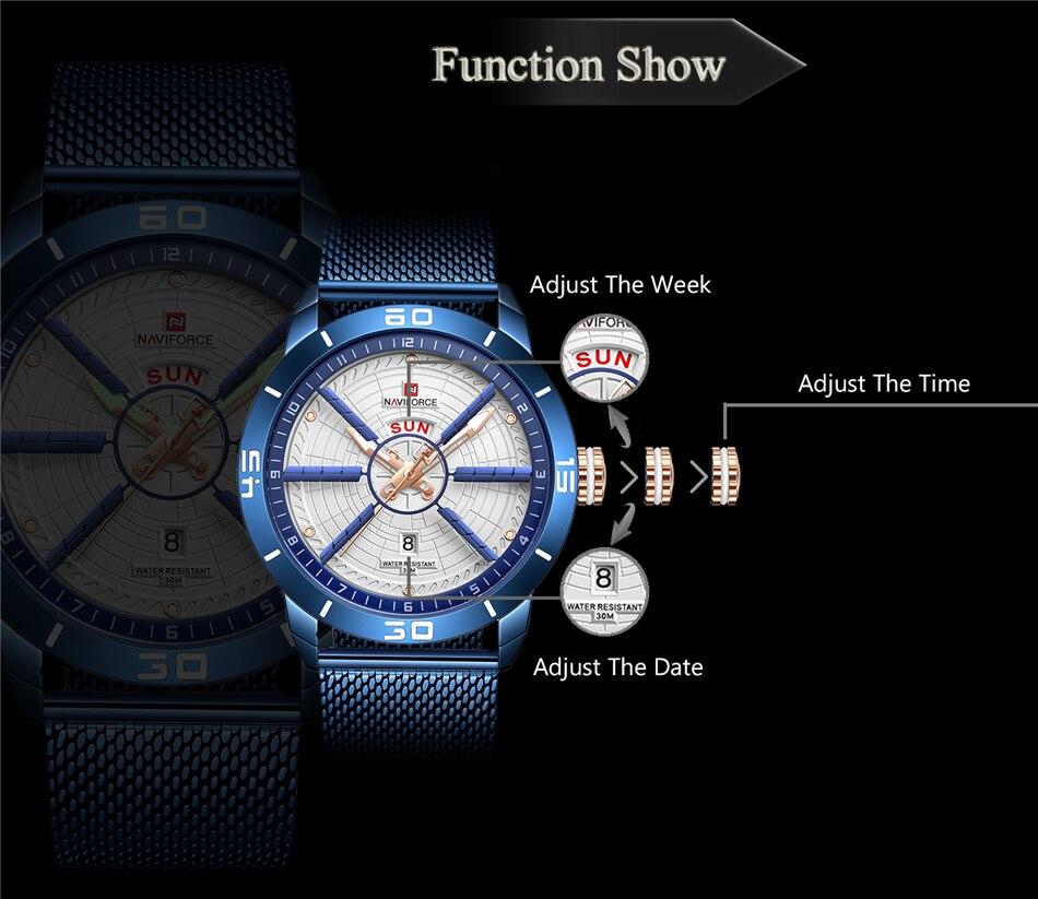 NAVIFORCE Mens Watches Top Brand Luxury Quartz Watch Men Full Steel Men Watch Sport Fashion Business Watches Relogio Masculino 17