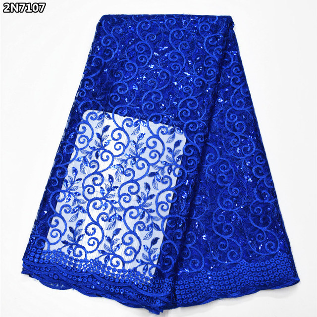 Blue french embroider lace with sequins 2018 hot sale 5 yards African net lace for needlework 2N7104