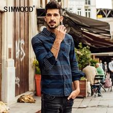 SIMWOOD 2016 Neue Herbst Winter Lange hülsen-beiläufige gestreiften shirts männer mode baumwolle marke kleidung CS1558