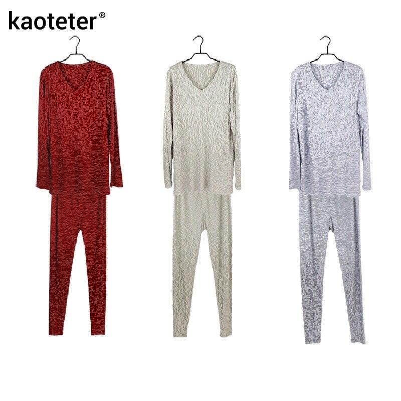 100% de seda pura para hombre Calzoncillos largos cuello en V para hombre conjuntos de ropa interior para hombres trajes térmicos antibacterianos de otoño para hombre - 6