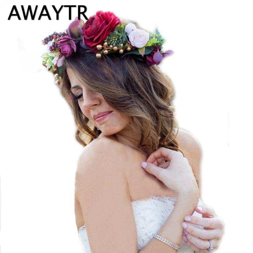 AWAYTR Bridal   Headwear   for Women Flower Wreath Headband Big Floral Wine Red Hair Band Wedding Party Crown Hair Accessories