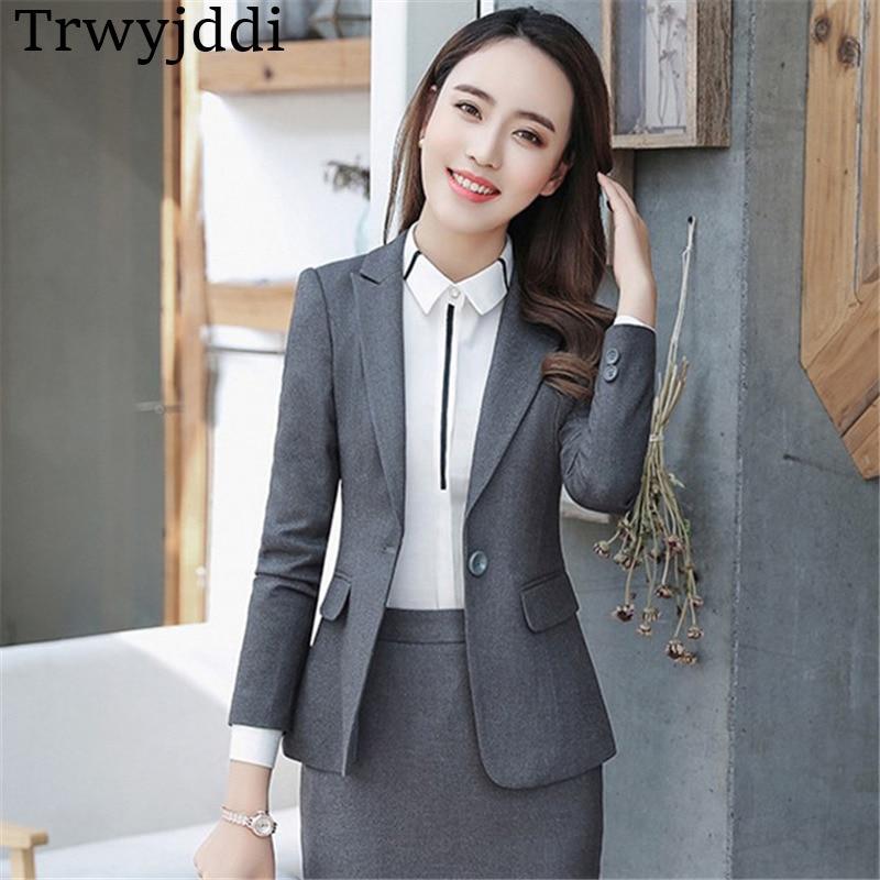 Plus À Ol navy Size Un A1347 Bouton Costumes Work Féminin gray Nouvelle Vestes Mince Black Blazer Longues Mode Manteaux Blazers 2018 Manches Wear D'affaires q4B8wXEC