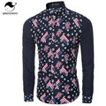 Men Shirt Luxury Brand 2017 Male Long Sleeve Shirts Casual Flag Star Printing Slim Fit Dress Shirts Mens Hawaiian Camisa XXL NHV