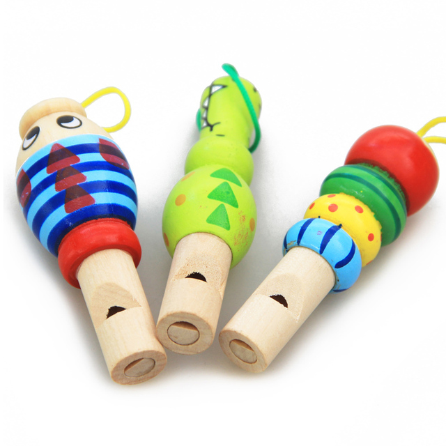 1Pc Infant Whistling Toy Wooden Random Color Toys Cartoon Animal Whistle Educational Music Instrument Toy for Baby Kids Children 2