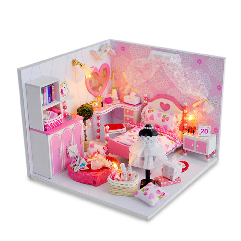 DIY Miniature Room Wooden Doll House Sweet Dreams with Furniture LED Lights Dust Cover Dollhouse Toys for Children