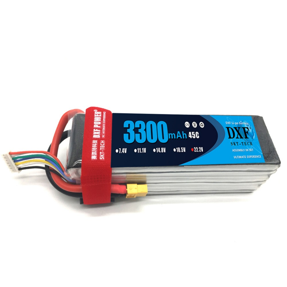 2017 DXF Power High Quality lipo battery 22.2v 3300mAh 6S 45C For rc helicopter rc car rc boat quadcopter Li Polymer battey