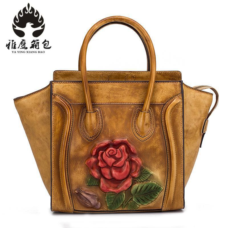 Brand Genuine Leather Women Handbag Flowers Printed Cow Leather Shoulder Bag Fashion Design Top Handle Trapeze Women Bag esufeir brand genuine leather women handbag cross pattern cow leather shoulder bag fashion design top handle trapeze women bag