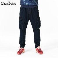 GODLIKE The 2018 men's wear and fat increase jeans shorts/Men's hip hop hip hop crotch pants baggy pants/Men's skinny jeans