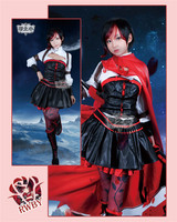 Anime RWBY Red Rose Little red riding hood Combat Gear In The Four Seasons Cosplay Costume Shirt+Dress