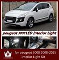 Noite senhor 7 pcs Dome Mapa Tronco lâmpada lâmpada traseira Dianteira Do Carro luz do carro LEVOU Kit de Luz Interior para Peugeot 3008 2008-2015 anos