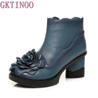 2017 Flower Genuine Leather Boots Women Vintage Thick Heel Women Shoes Fall Winter National Ankle Boots