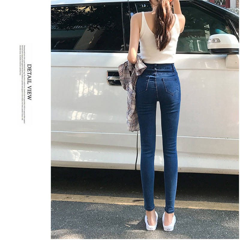 2019 Plus Size Button fly Women Jeans High Waist Blue Pants Jeans for Women High Elastic