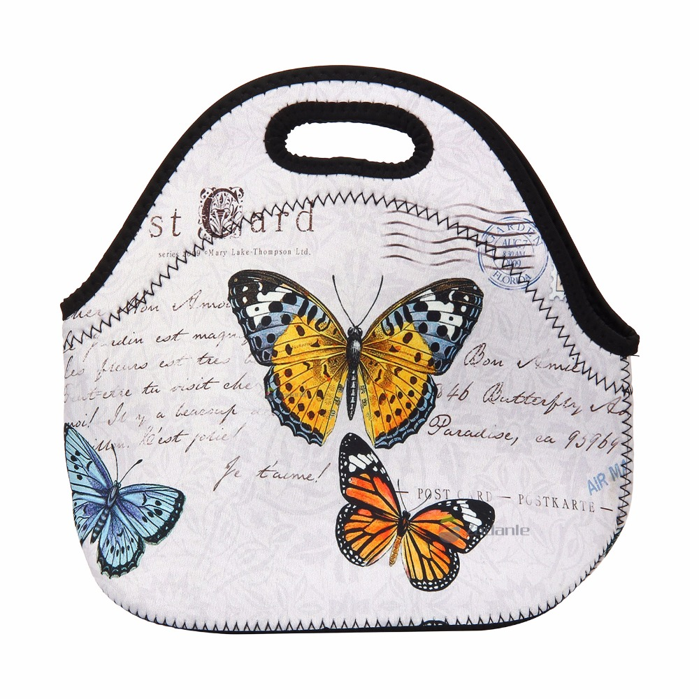 Butterfly Kids Thermal Lunch Bag Tote HandBag Women Picnic Lunch box Bag Cool Bag with Zipper Handle WaterProof New