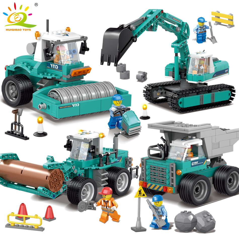 Engineering Excavator Vehicles Bulldozer Model Building Blocks