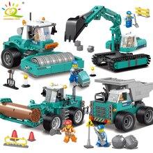 Engineering excavator vehicles bulldozer Model Building Blocks Compatible legoed city Construction Enlighten bricks Children Toy