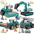 Engineering excavator vehicles bulldozer Model Building Blocks Compatible legoed city Construction Enlighten brick Children Toy