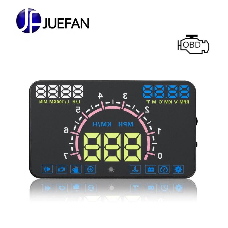 JUEFAN E350 OBD II Plug and Play HUD affichage de voiture vitesse projecteur Moteur vitesse réservoir D'eau température Fatigue conduite rappel