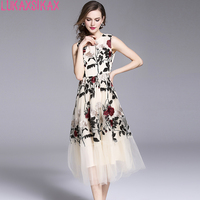 LUKAXSIKAX FASHION 2018 New Women Summer Dress High Quality Mesh Flowers Embroidery Runway Dress Luxury Party Dresses Vestidos