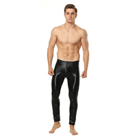 Hombres Pantalones De Cuero Hombres Sexy Calzoncillos Largos Leggings Pijama Bottoms Gay Bolsa de Fitness Pantalones Del Sueño Del Salón