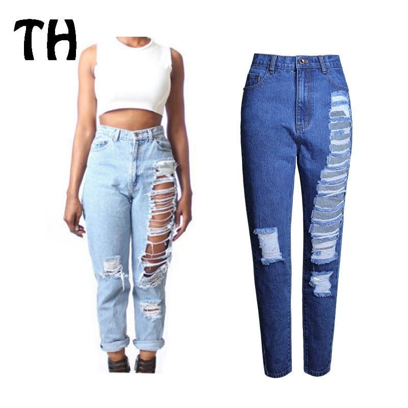 d9926e892a 2017 Jeansy demin Proste Dziura Ripped Boyfriend Jeans dla Kobiet Sexy  Wysokiej Talii Dżinsy Denim Spodnie Pantalones Mujer Femme  160226