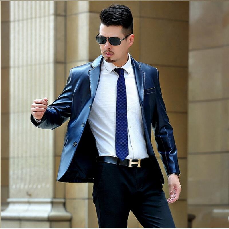Hommes Conception Simplicité Col Veste Noir bleu Costume Vestes La Mode Homme Printemps Nouvelle De Et Manteaux En Cuir Tempérament TFlc3K1J