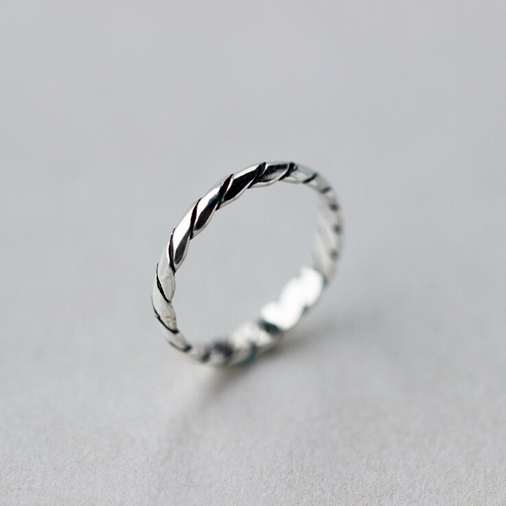 925 sterling silver 25mm dainty braid twisted stackable ring women a3218 - Dainty Wedding Rings