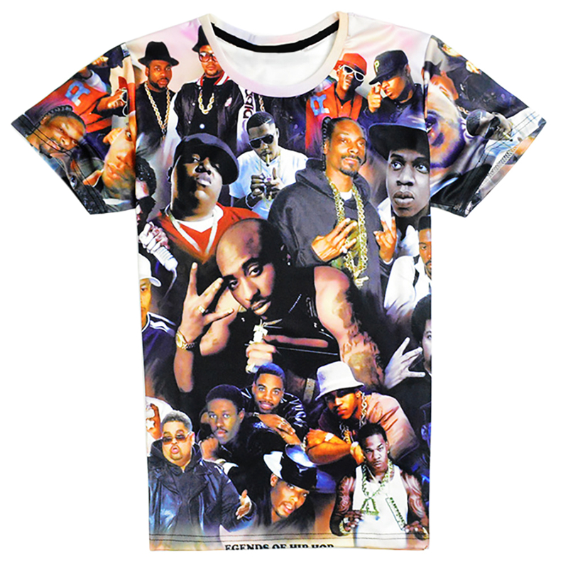 European and America Fashion Men Casual T Shirt Rock Stars 3D Printed Hip Hop T-Shirts Tops Tee Shirt