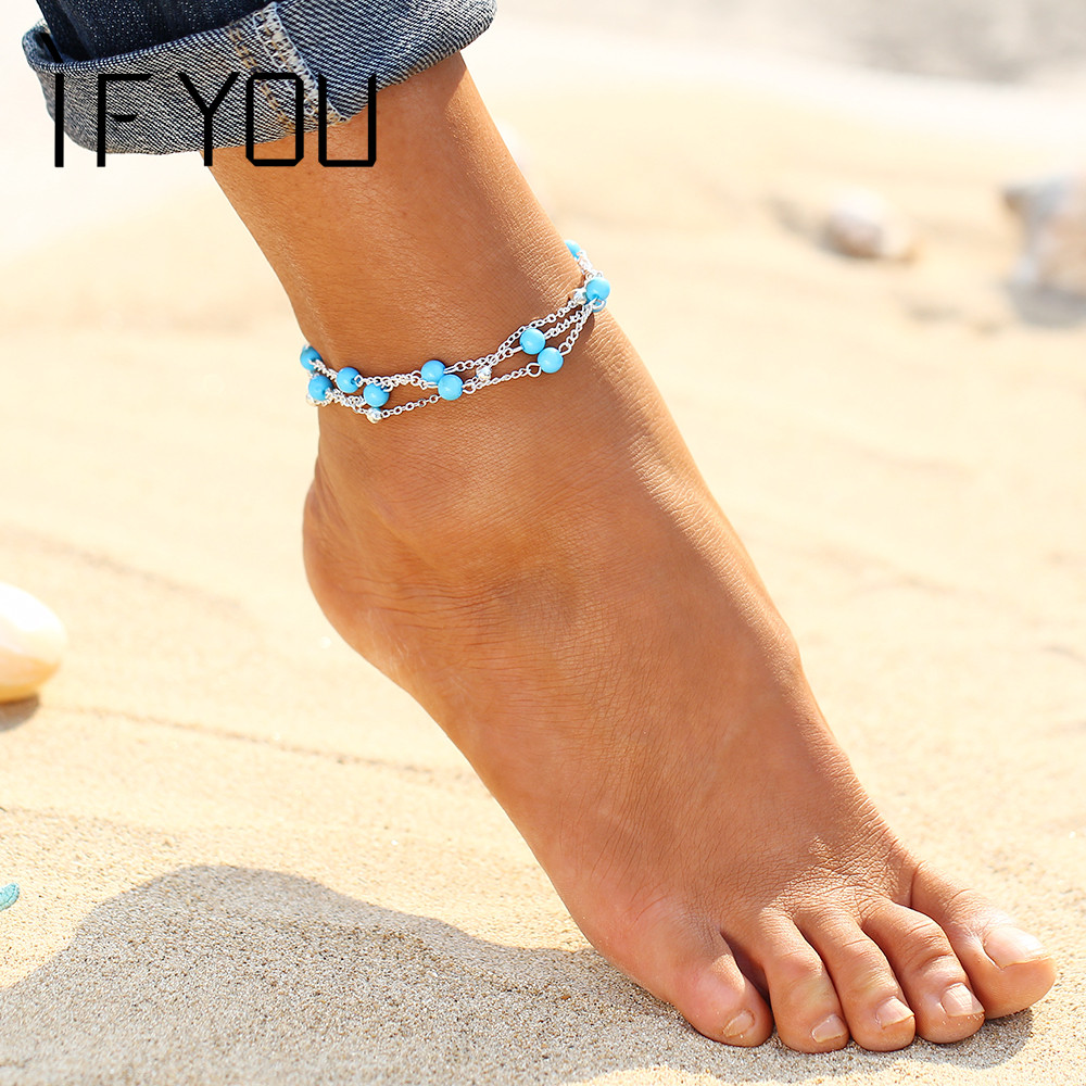 IF YOU Foot Jewelry Cyan Natural Stone Beads Boho Anklets for Women Chaine Beach Vacation Bohemian Barefoot Sandals Enkelbandje