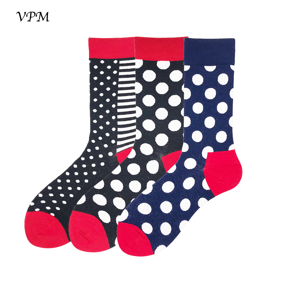 VPM Haeajuku Men's Crew Socks 85% Cotton Cool Black White Dot Skate Sock For Men Wedding Christmas Gift