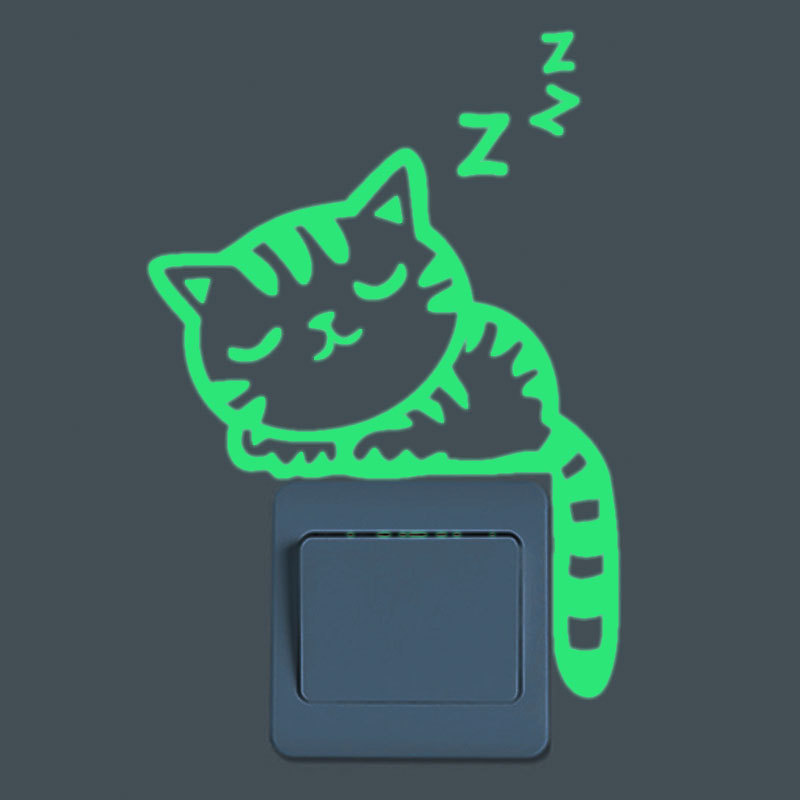 Cute Luminous Snooze Cat Switch Sticker Glow In The Dark Fluorescent Wall Stickers Kid Room Living Room Switch Home Decoration